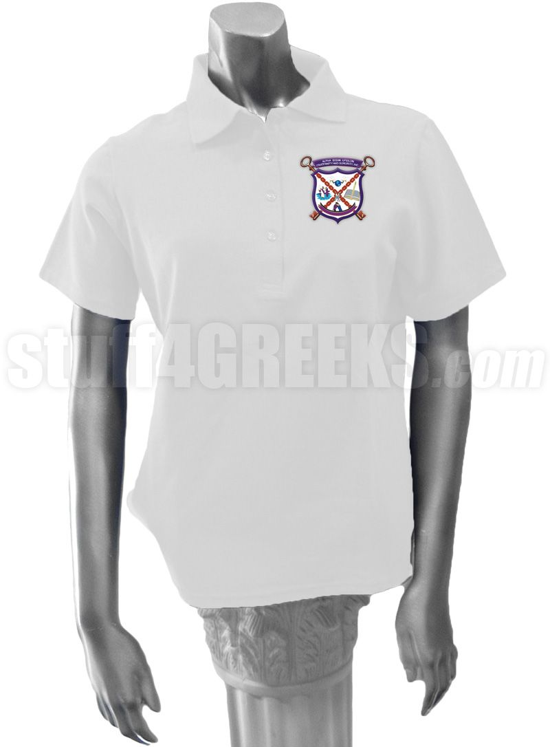 White Alpha Sigma Upsilon ladies' polo shirt with the crest on the left breast.