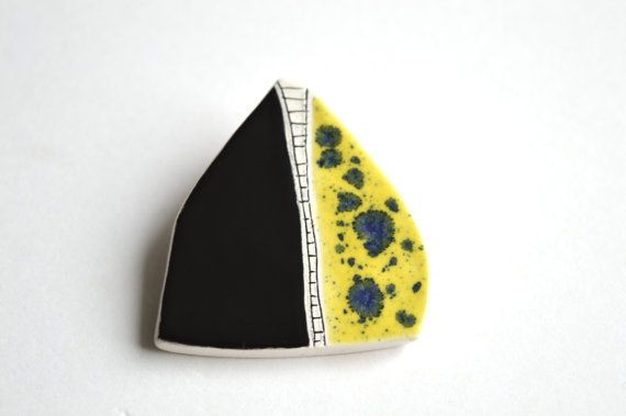 Geometric ceramic brooch, unique ceramic jewelry, black and yellow brooch, gift for her