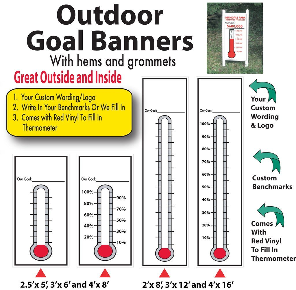 Outdoor Indoor Goal Thermometer Banner With Red Fill Goal Thermometer Fundraising Thermometer Goal Charts [ 1002 x 1024 Pixel ]