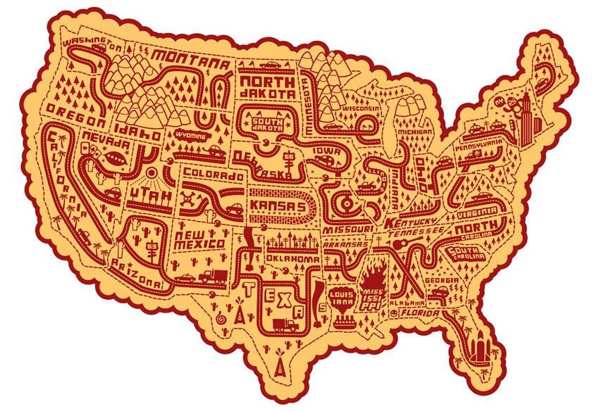 Illustration of United States by Serge Seidlitz – Us Travel Map States