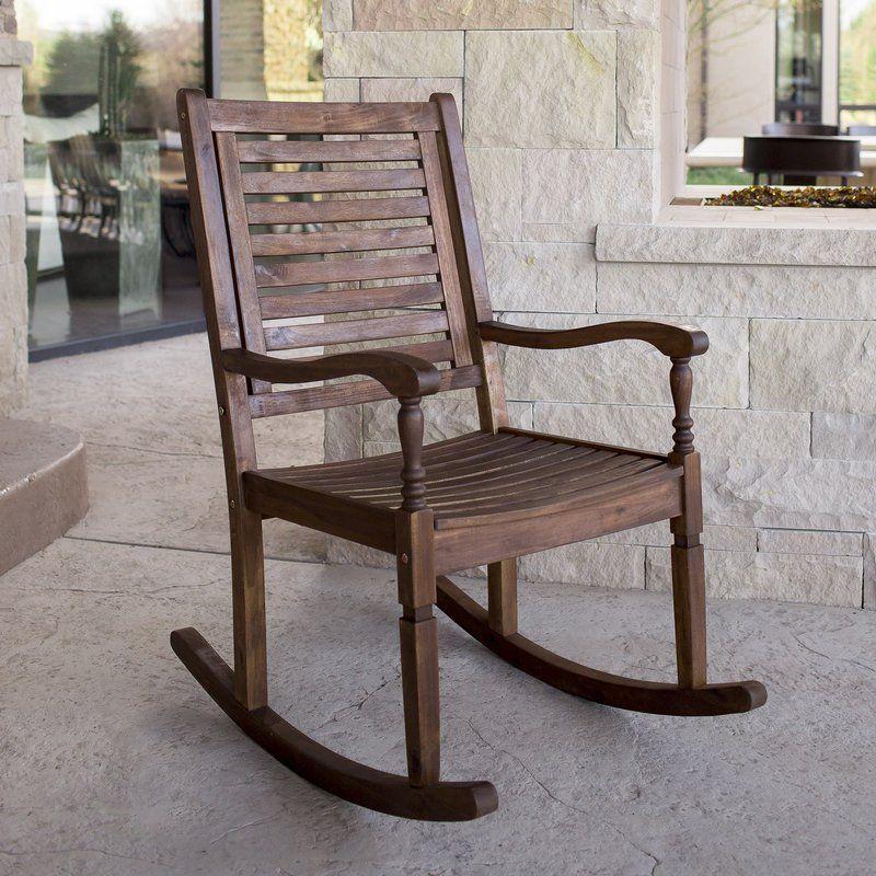 Jarrard Solid Acacia Wood Patio Rocking Chair Wood