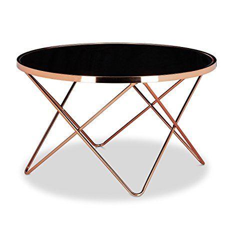 Relaxdays Beistelltisch Copper 139 90 Euro Aus Kupfer Und Schwarzglas Glas Couchtisch In Edlem Design Als Glastisch Un Mesa Lateral Mesas De Cafe Mesa Moderna