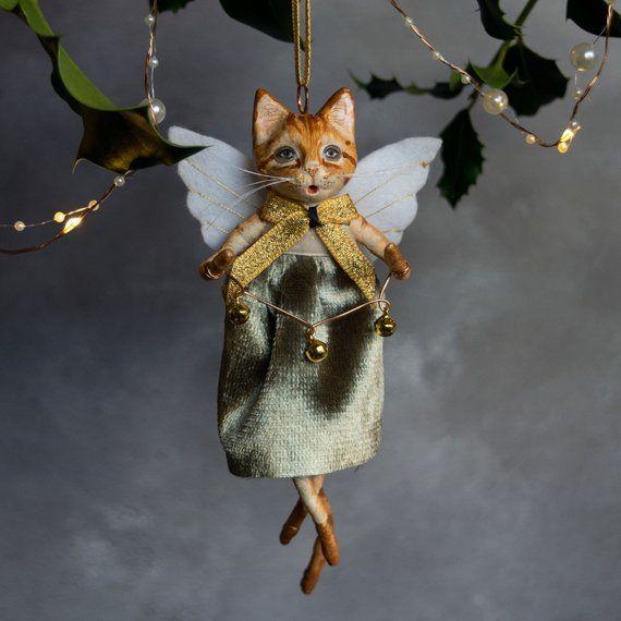 Cat Angel Christmas Tree Topper: Meg The Ginger Cat Angel, Hanging Christmas Tree Ornament
