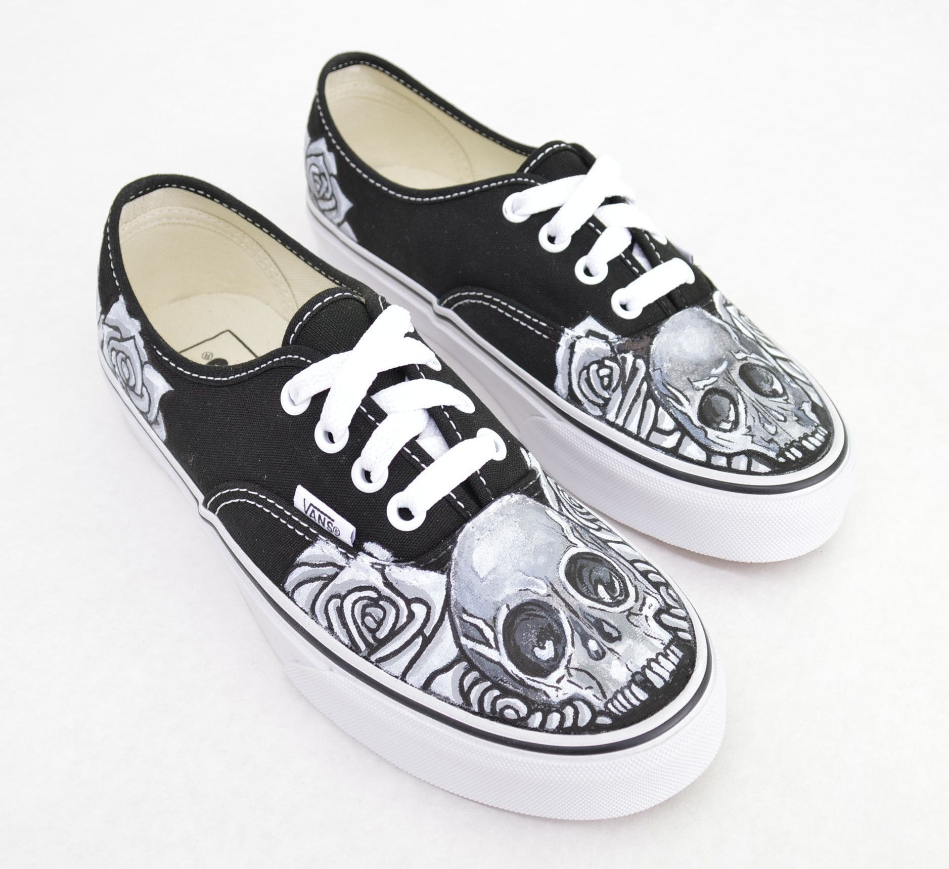 34b067d4bb Black   White Skull   Rose on Black Vans Authentic - Custom Hand ...