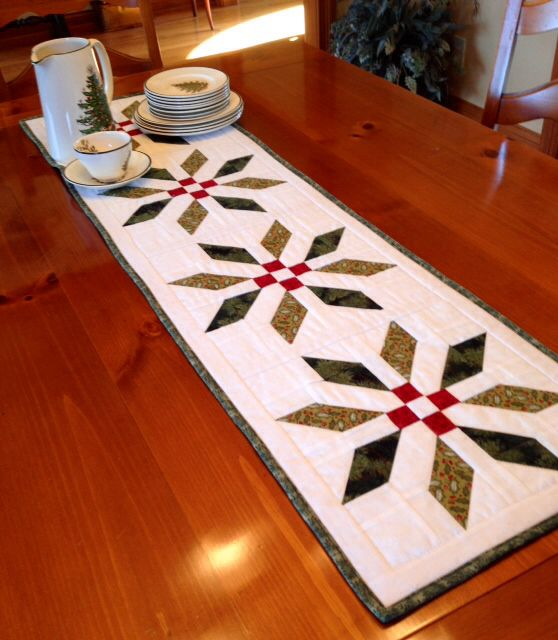 Christmas Tree Table Runner Quilt Pattern: This With Colored Quilting Thread. Green Leaves Quilted
