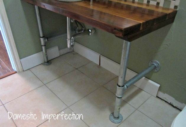 Industrial Vanity Legs With Rustic 2x6 Wood Board Top. Stunning And  Cost Effective!