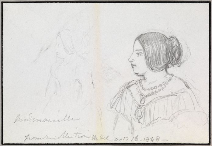 Mademoiselle from recollection  dated 16 Oct 1848 by Queen Victoria, Queen of the United Kingdom (1819-1901)