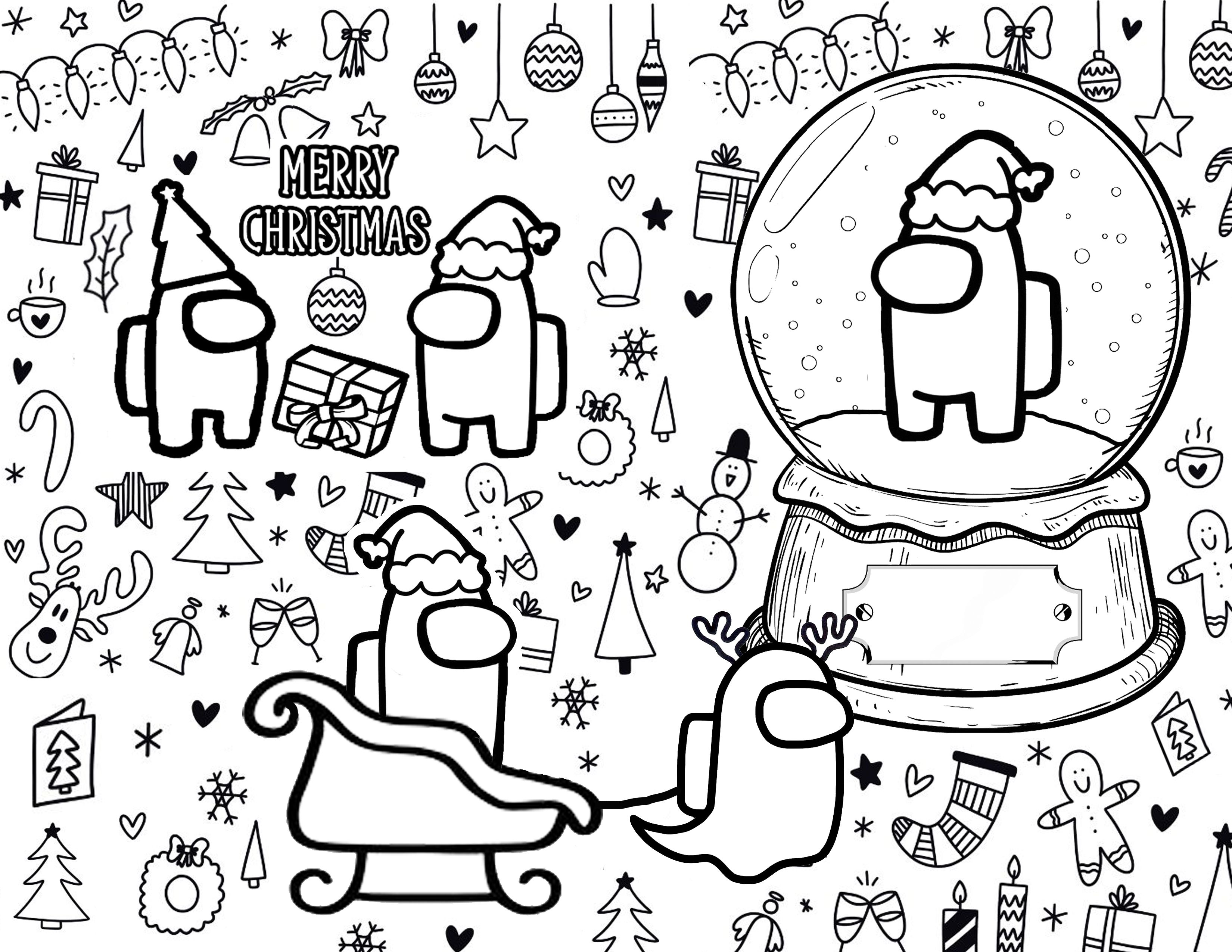 Among Us Coloring Page Merry Susmas Coloring Pages Christmas Coloring Sheets Christmas Coloring Pages