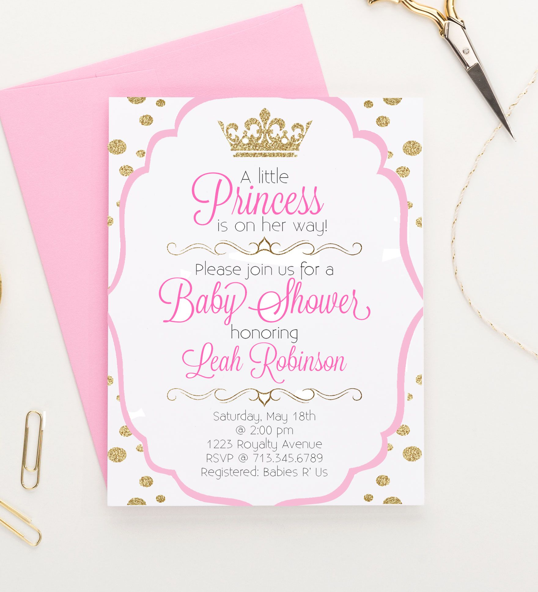 Princess Baby Shower Invitations, Little Princess Baby Shower ...