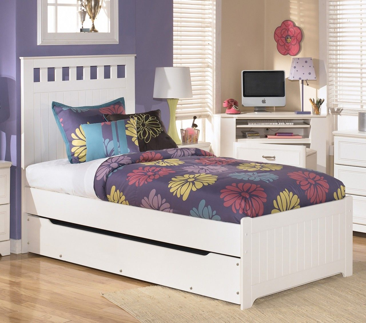 Lulu Twin Panel Bed With Trundle Under Storage In White