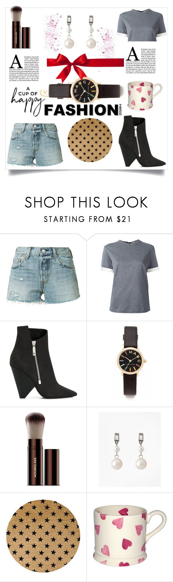 """Fab Style"" by hillarymaguire ❤ liked on Polyvore featuring Levi's, Marni, Yves Saint Laurent, Marc Jacobs, Hourglass Cosmetics, Brooks Brothers, Artsy Doormats, Boots, watch and earrings"