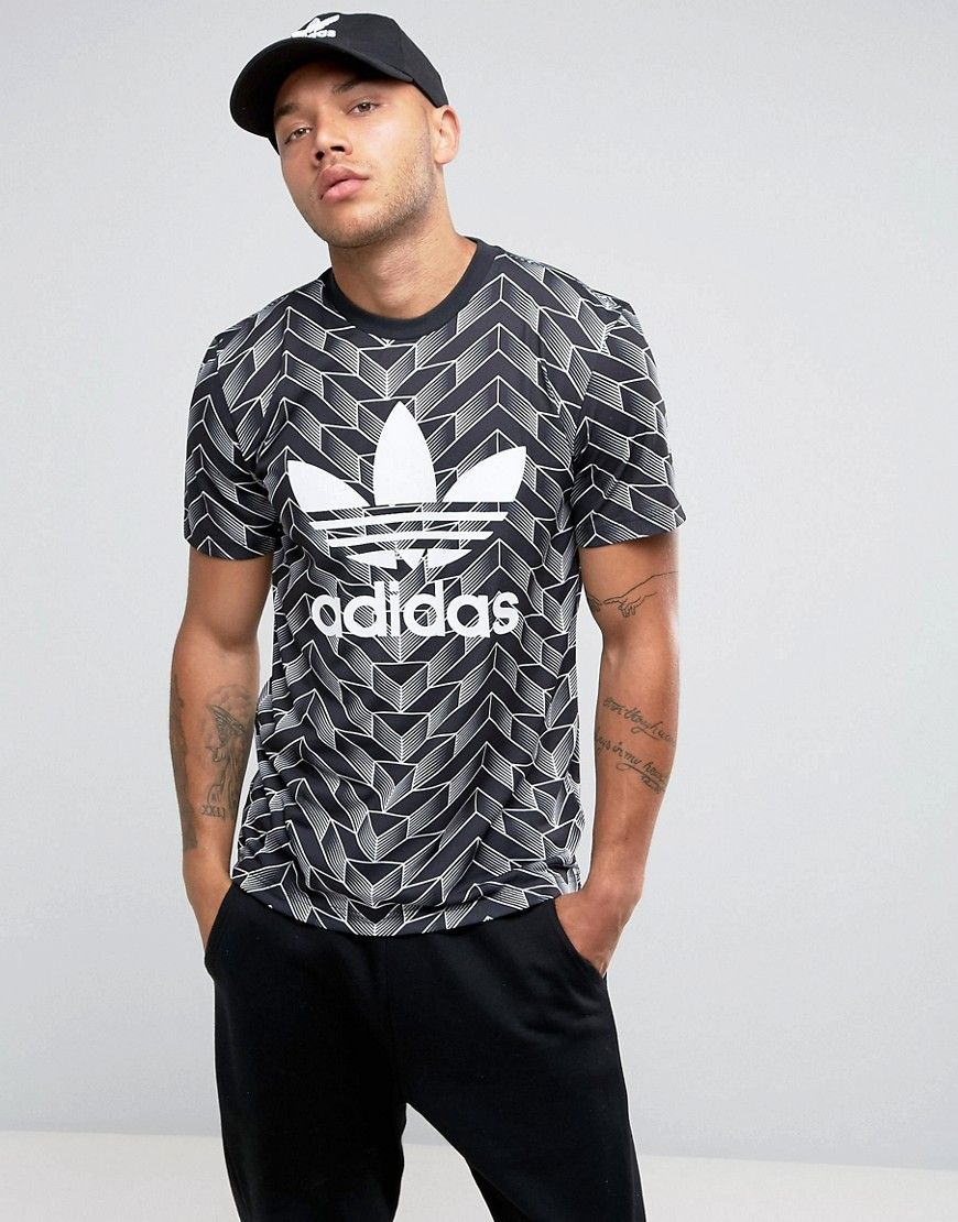 adidas Originals Soccer Print T-Shirt In Black Klick to see the Price
