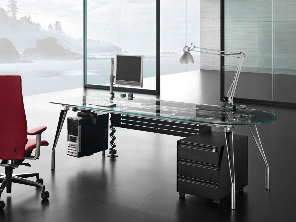 glass modern executive glass office desk - Modern Home Office Glass Desk