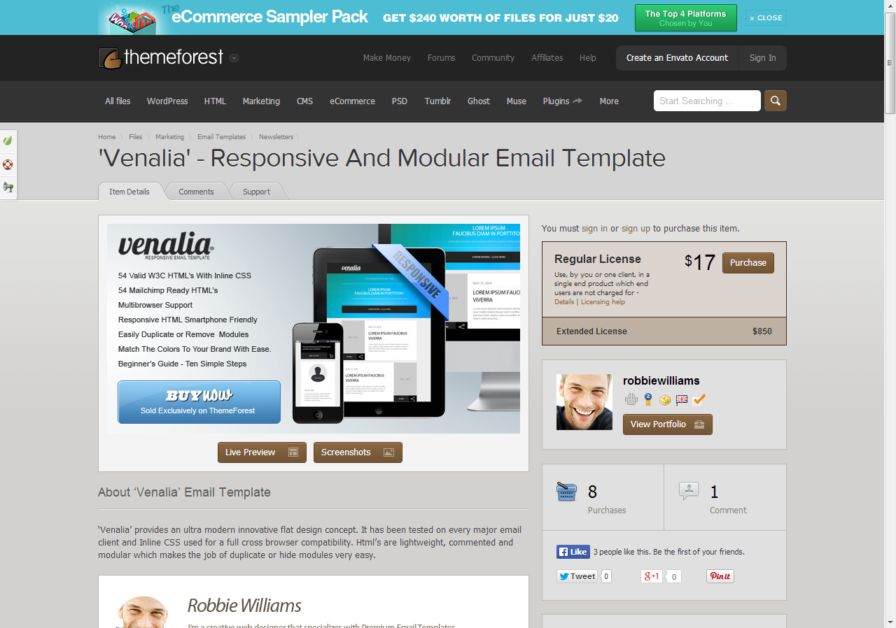 Venalia\' - Responsive And Modular Email Template | Pinterest ...