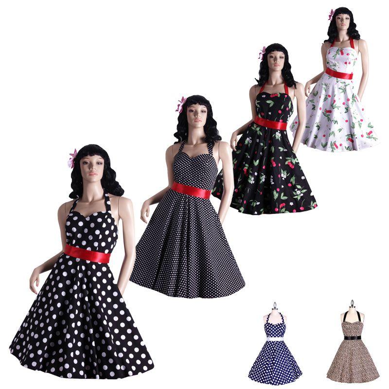 7e22cc5a149 pinup retro party dress in cherry floral vintage rockabilly halter women  fashion sexy cotton vestidos swing