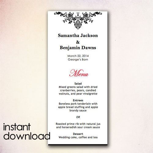 DIY Wedding Menu Template Instant Download by CheapoBride on Etsy - microsoft word menu templates