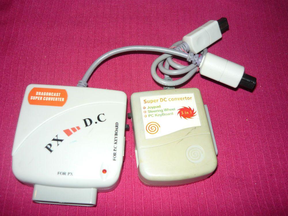 2 Used Ps2 Dual Shock Saturn Controller Vmu On Dreamcast Adapters Cables Unbrandedgeneric Pc Keyboard Dualshock Keyboard