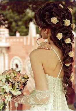 Beautiful style for a bride with gorgeous long hair.
