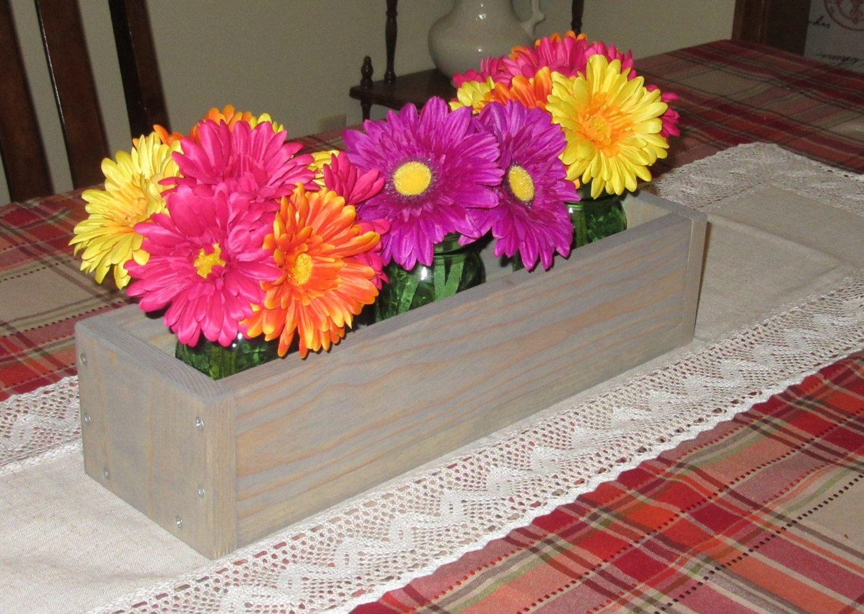 Weathered oak wood planter box u mason jar centerpiece long wood