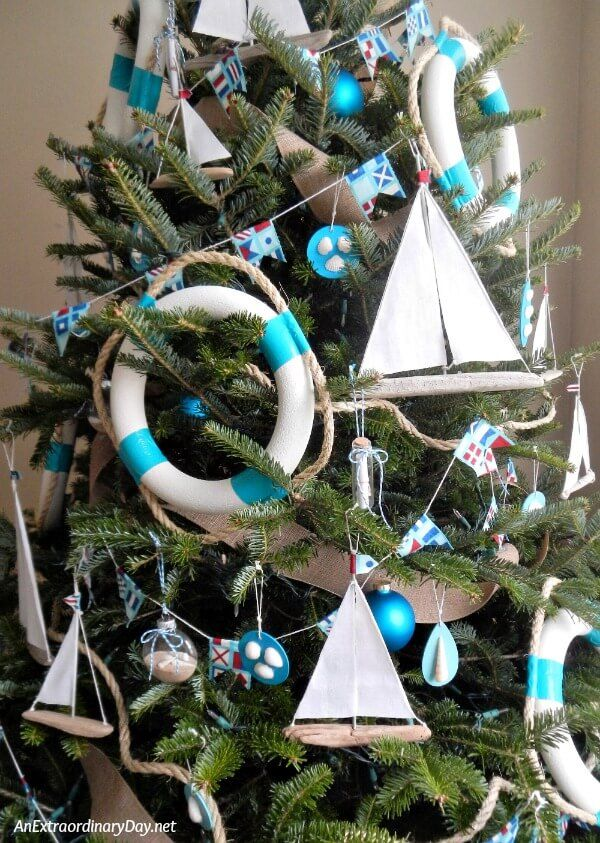 Nautical Christmas Tree filled with Handmade Sailboat Christmas Trees. Get  the easy tutorial from AnExtraordinaryDay.net and make a tree-full this  year. - How To Make Easy Sailboat Christmas Ornaments Life Is A Beach