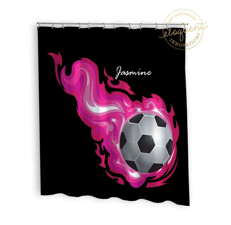 Soccer Shower Curtain Sports Pink Flames Soccer Shower
