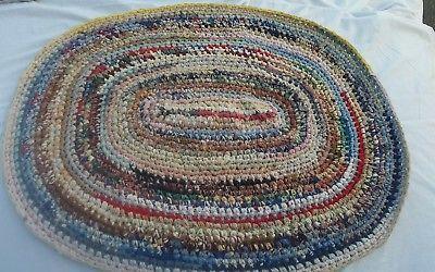 Vintage Hand Made Oval Rag Rug