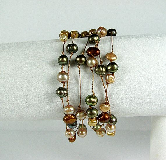 Boho chic wrap bracelet necklace Moss green Mocha by ShopPretties, $55.00
