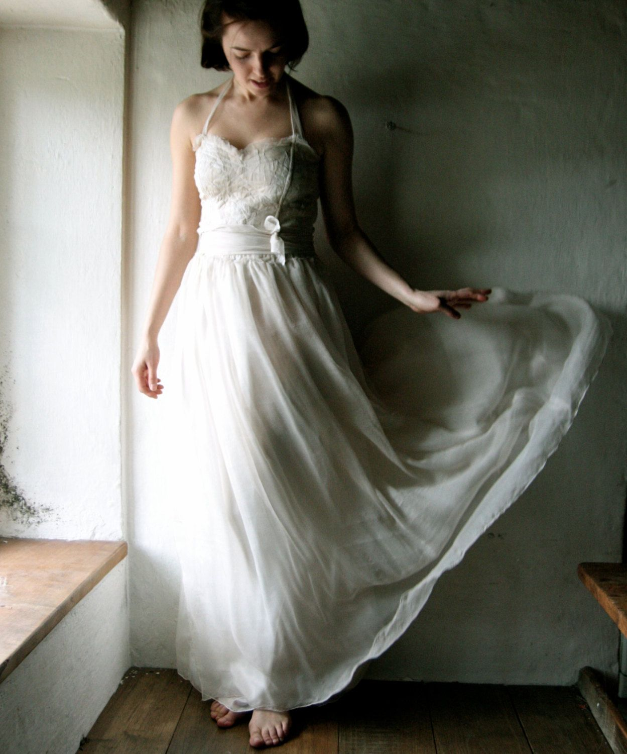 Chiffon wedding dress boho wedding dress hippie wedding dress