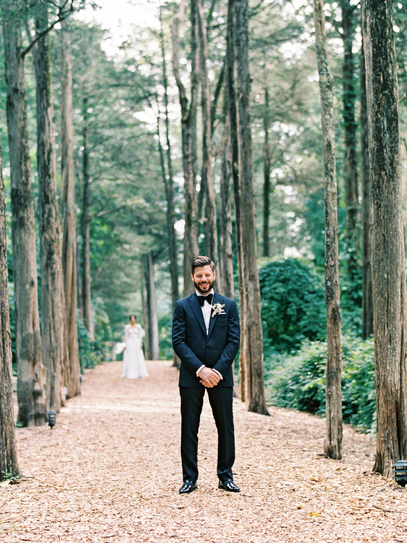 Enchanting NYC wedding in a sunken garden with a brass