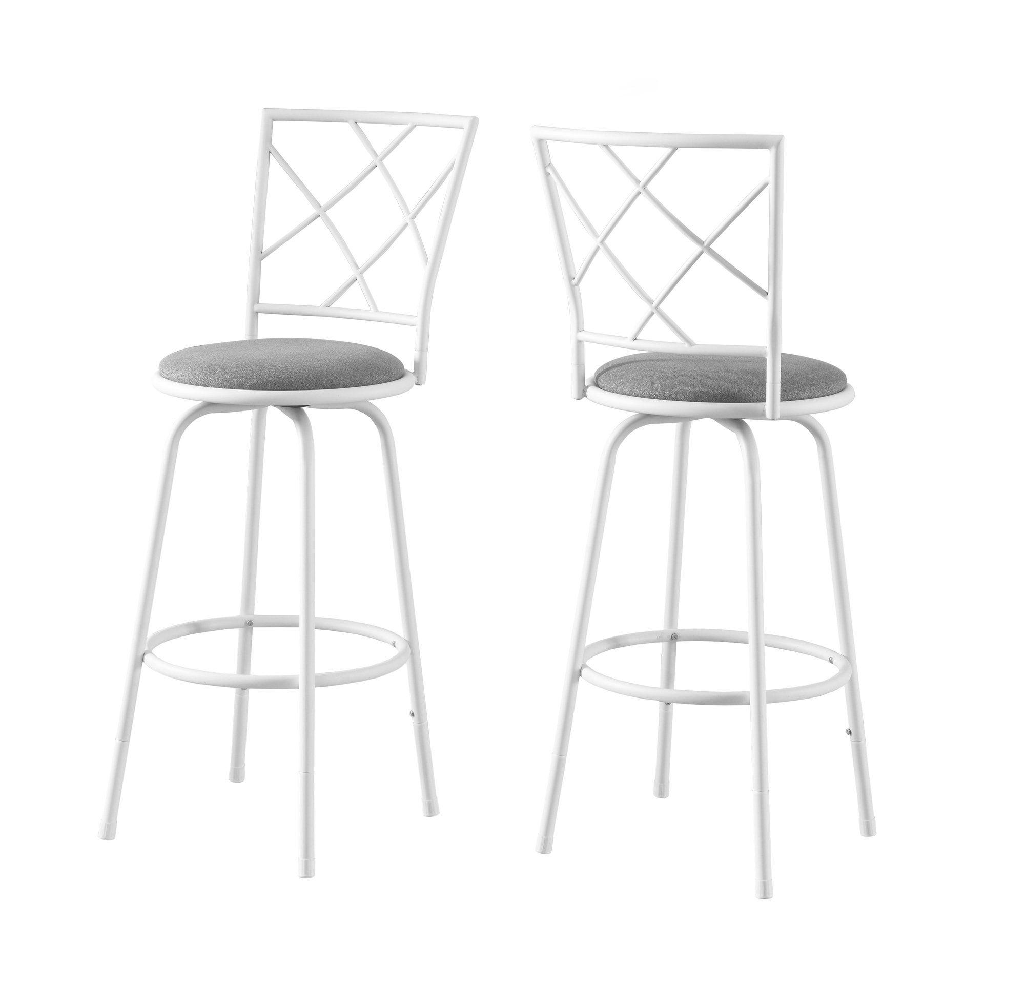 Barstool 2Pcs Swivel White Grey Fabric Seat White bar