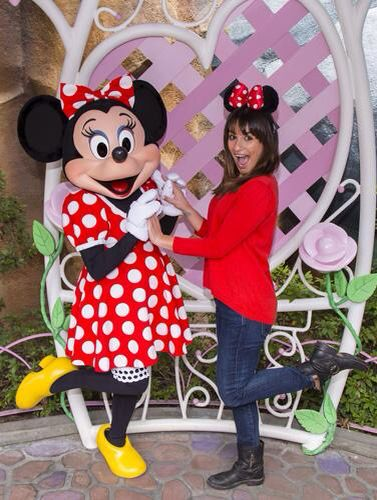 Lea Michele with Minnie Mouse at Disneyland