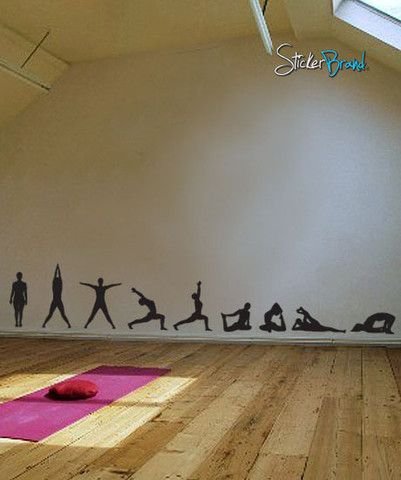 Vinyl Wall Decal Sticker Yoga Poses Silhouette Position - Yoga studio wall decals