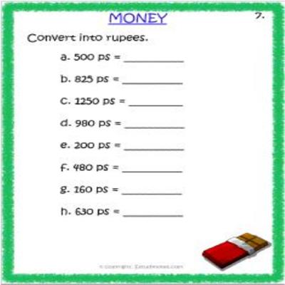 Maths Money Worksheet 3 Grade