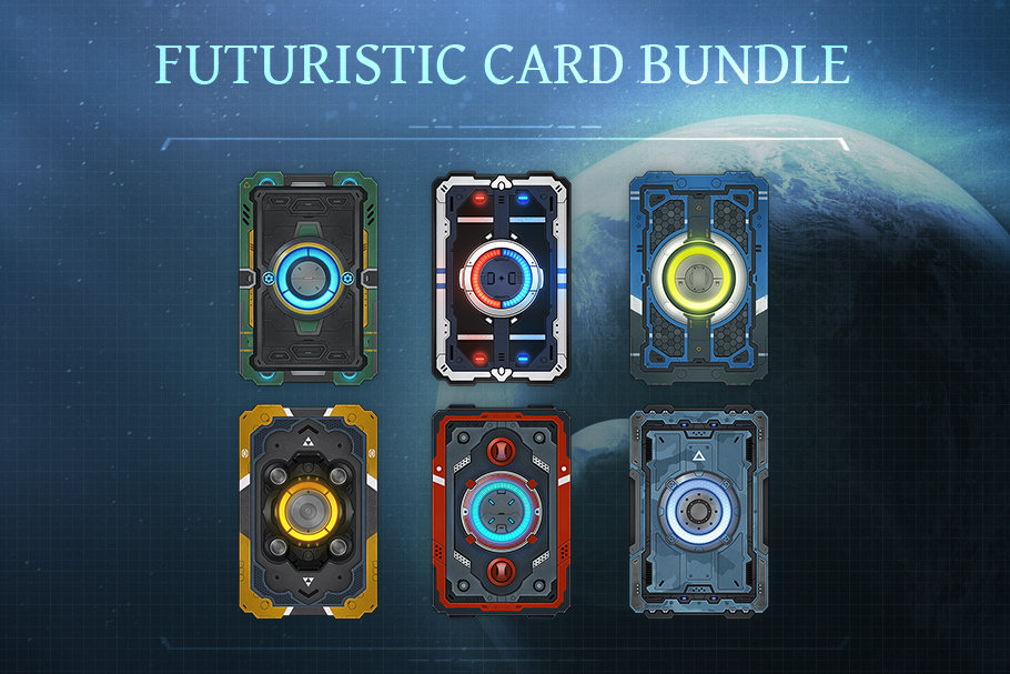 Futuristic Card Bundle 2d Icons Unity Asset Store In 2021 Futuristic Cards Card Games
