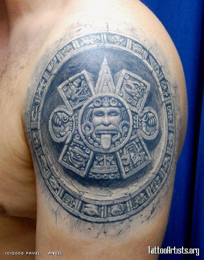 7655680e2d907 Stone-effect tattoo | Aztec Tattoo's | Aztec tattoo designs, Mayan ...