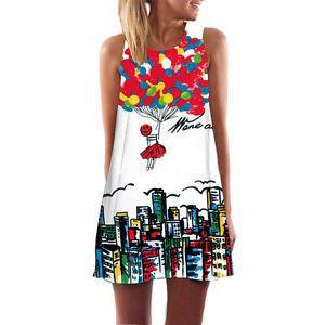 Damen-Retro-Sommerkleid-Gedruckt-Minikleid-Armellos-Freizeit-Cocktail-Partykleid