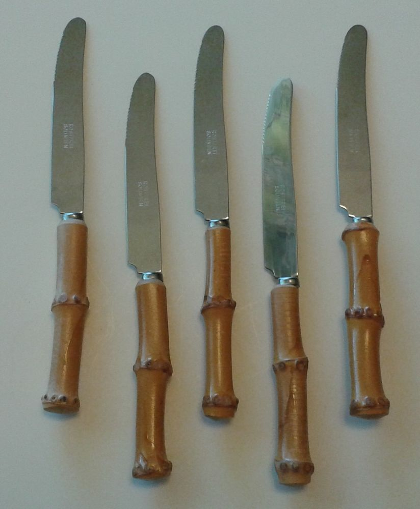 mid century rostfrei solingen bamboo handle knives set of 5 fruit