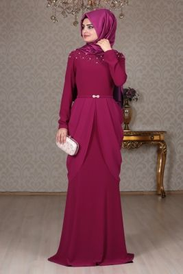 e94d901fabba5 Sema Şimşek Mürdüm Matmazel Tesettür Abiye Elbise | Muslimah fashion ...