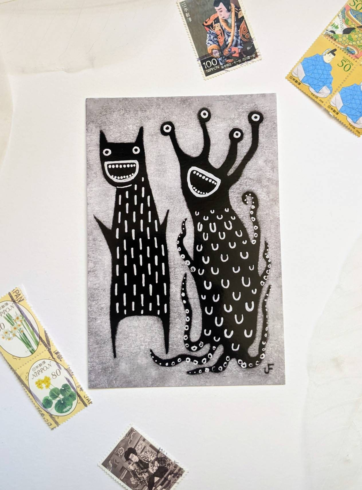 Photo of 4×6 ART PRINT POSTCARD Monster Folk Art Weird Painting Quirky Housewarming Gift Whimsical Eclectic Creepy Decor Birthday Gifts Christmas