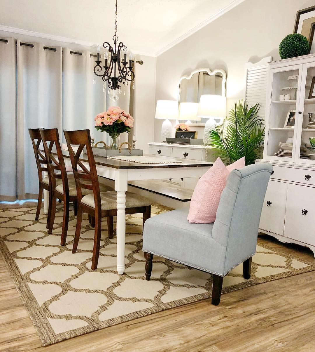 Cottage style dining room...farmhouse table wayfair rug