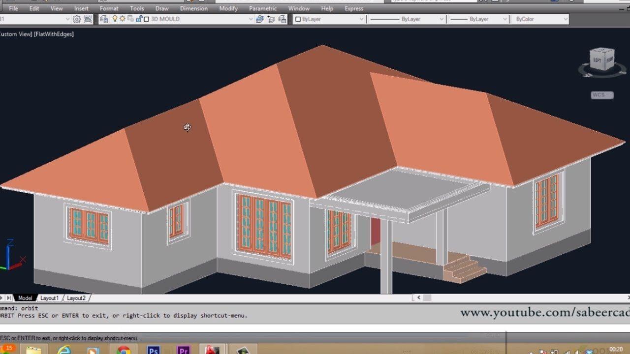 Autocad 3d House Part6 Sloped Roof Autocad Sloped Roof 3d Roof Roof Design Roof Repair Cost Roofing