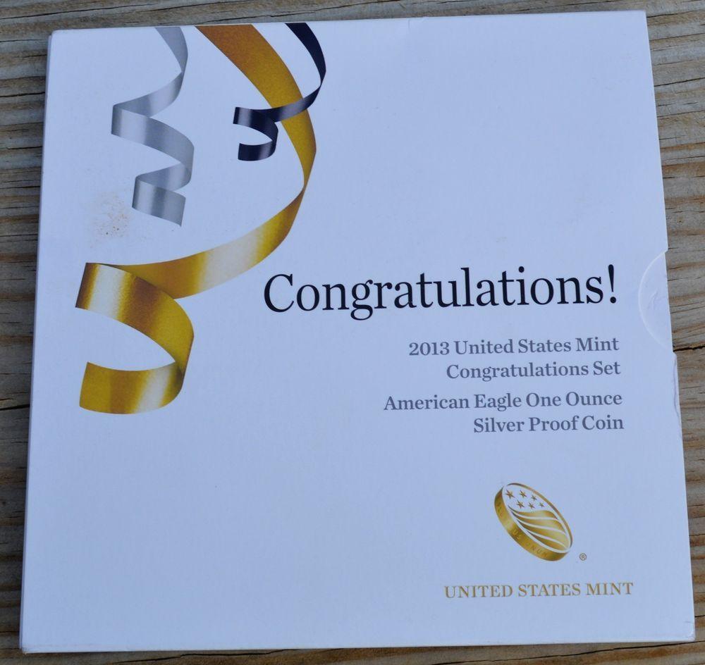 2013-W AMERICAN EAGLE SILVER $1 CONGRATULATIONS SET-KM-273-999-FREE SHIP