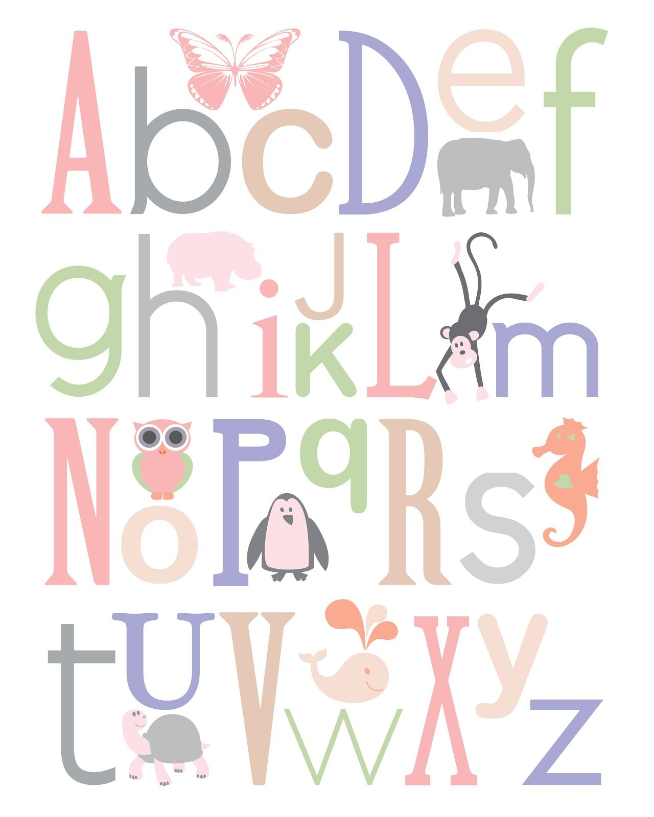 Baby Nursery Art Print Dog Abc Nursery Decor Alphabet Print: Nursery Letter Print - Free!