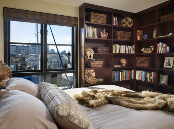 l shaped bookshelves make an effective addition to the modern bedroom