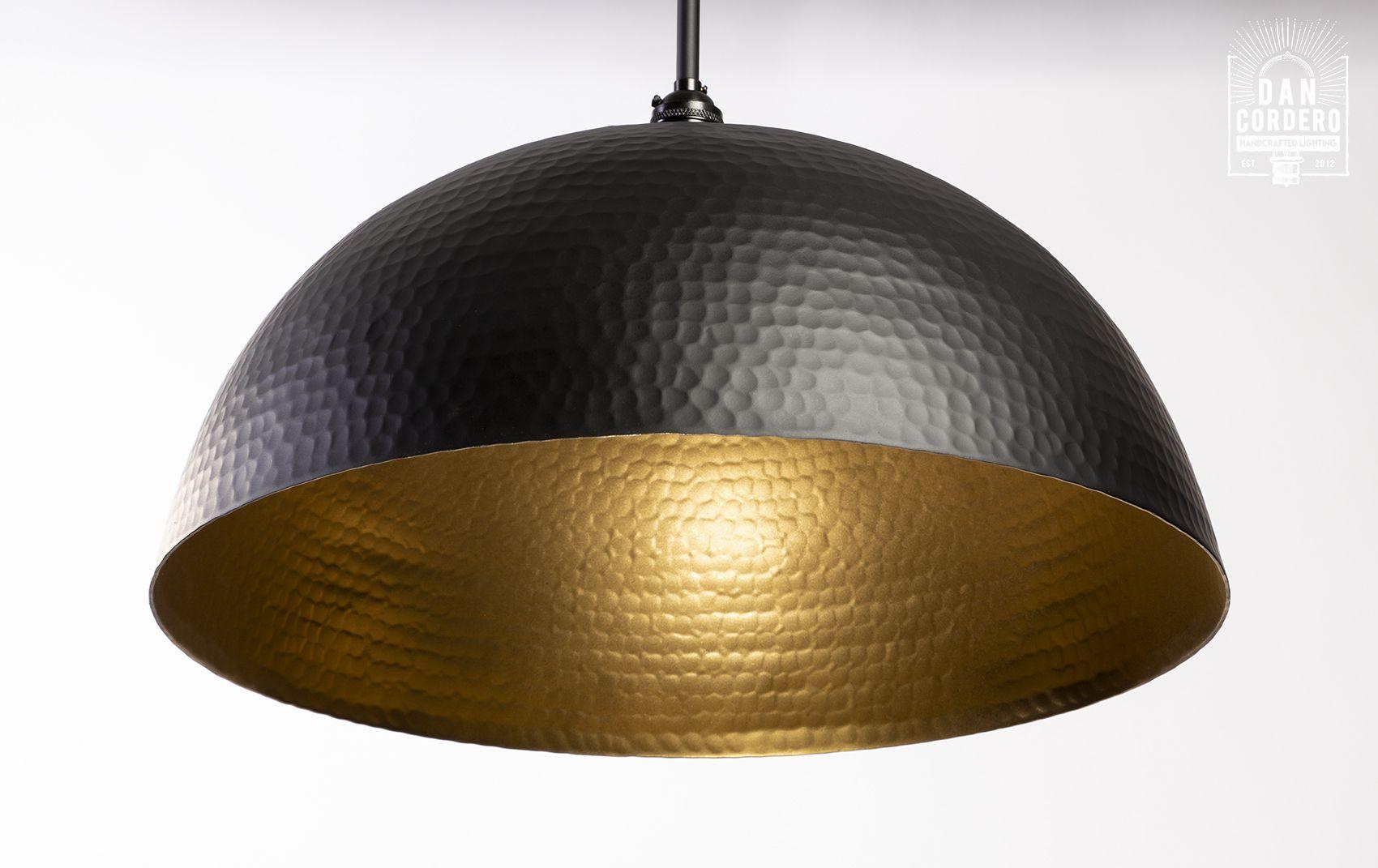 Hammered Flat Black Dome Pendant Light Fixture Oversized Pendant