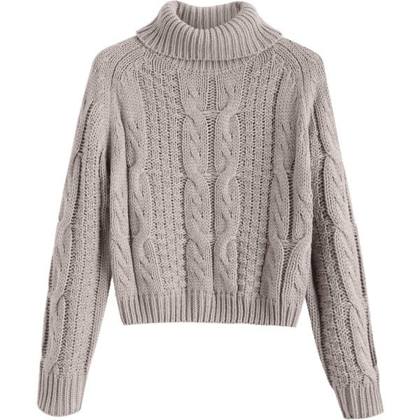 c89f8a4133 Turtleneck Cropped Cable Knit Sweater ( 30) ❤ liked on Polyvore featuring  tops