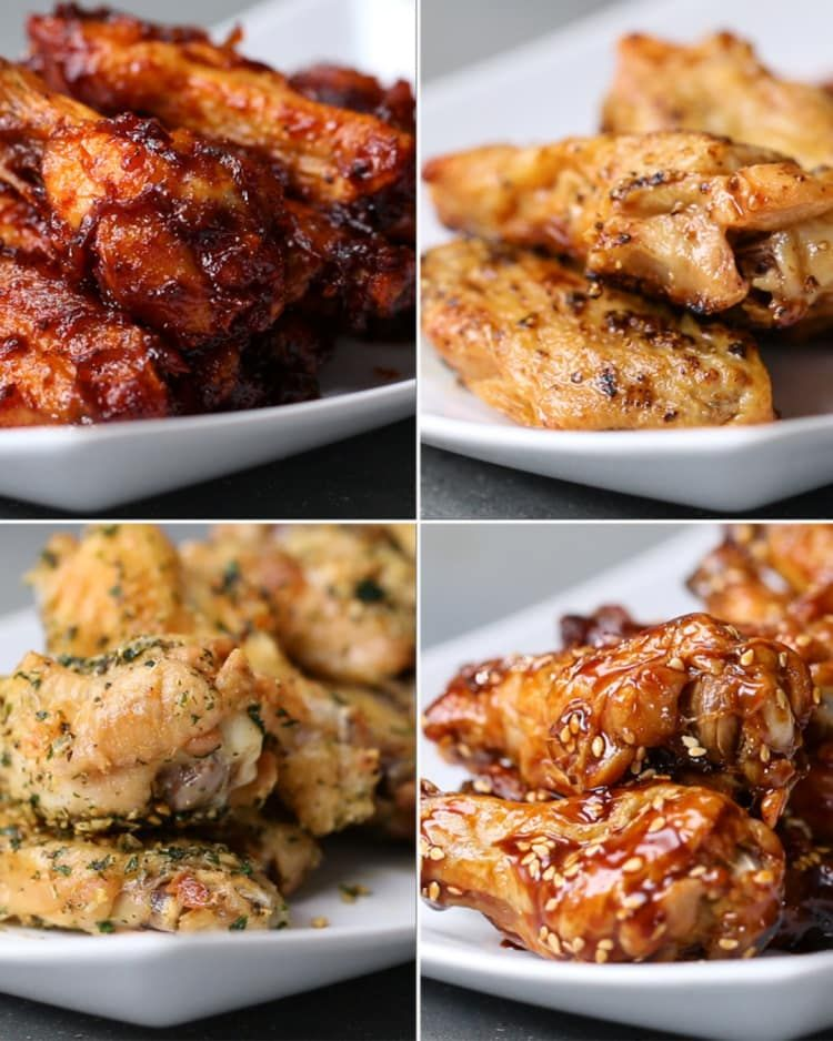 Oven-Baked Chicken Wings 4 Ways | Recipes