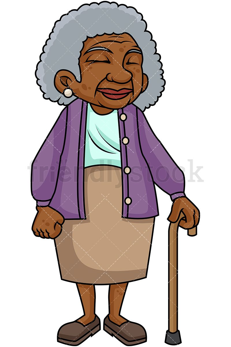 Black Old Woman With Walking Stick Cartoon Vector Clipart Friendlystock Cartoon Sketches Cartoon Art Cartoon