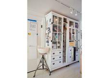 Brigitte Bouquet's Brooklyn studio. Love the cabinet.