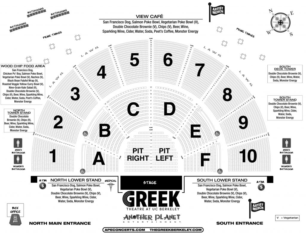 Greek Theater Seating Chart Detailed